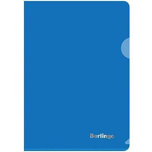 Папка-уголок Пластиковая А5 синяя плотная  (180 мк)