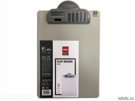 Папка-планшет DELI с калькулятором А4, пластиковая, серая