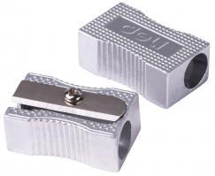 Точилка DELI, 1 лезвие, металлическая, скошенный корпус