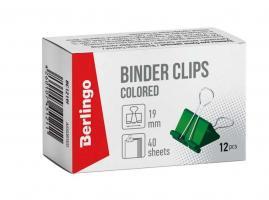 Зажим для бумаг BERLINGO, 19 мм, цветные