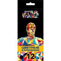 """Карандаши """"Hatber VK"""", 12 цветов, серия """"Звёздные войны"""", в картонной упаковке"""