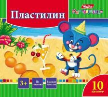 """Пластилин """"Hatber"""", 10 цветов, 200гр, со стеком, серия """"Ушастики"""""""