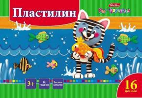 """Пластилин """"Hatber"""", 16 цветов, 320гр, со стеком, серия """"Ушастики"""""""