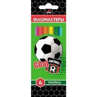 """Фломастеры """"Hatber VK"""", 6 цветов, серия """"Football"""", в картонной упаковке"""
