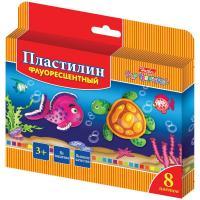 """Пластилин """"Hatber"""", 8 цветов, 120гр, со стеком, восковой флуорисцентный, серия """"Морская семейка"""""""