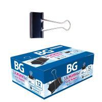 """Зажимы для бумаг """"BG"""", 41мм, 200л, чёрные, 12шт в картонной упаковке"""