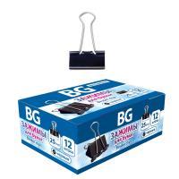 """Зажимы для бумаг """"BG"""", 25мм, 110л, чёрные, 12шт в картонной упаковке"""