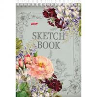 """Блокнот-SketchBook """"Hatber"""", 80л, А5, без линовки, твёрдая подложка, на гребне, серия """"Вальс цветов"""""""