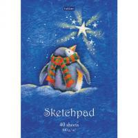 """Блокнот-SketchPad """"Hatber Premium"""", 40л, А5, без линовки, отрывная склейка, серия """"Из жизни пингвинов"""""""