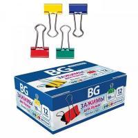 """Зажимы для бумаг """"BG"""", 19мм, 80л, цветные"""