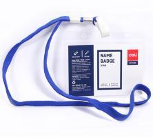 Бейдж горизонтальный DELI, 105х70 мм, пластиковый, на шнурке, синий