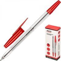 Ручка шариковая Attache Economy Elementary 0,5 мм, прозрачный корпус, красный