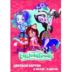 """Картон цветной """"Enchantimals"""" 8 листов, 8 цветов, размер 294*205 мм"""