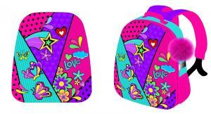 """Рюкзак каркасный """"Love""""  формованный. Размер 37*31,5*17см.  Брелок-пушок на подвесе"""