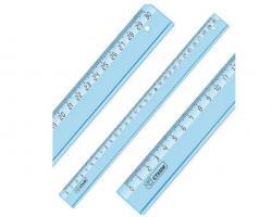 """Линейка СТАММ """"Cristal"""" 30 см, тонированная голубая"""
